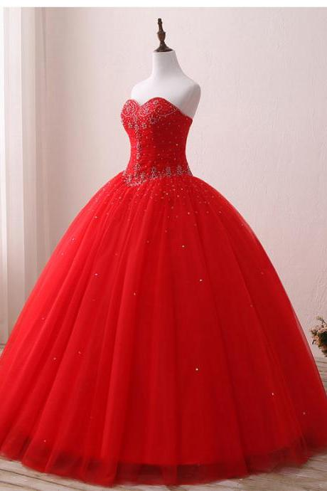 Bride Red Wedding Dress Prom Gown