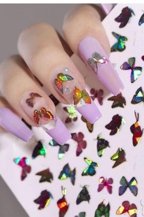 24 Sheets Butterfly Nail Art Stickers Colorful Butterfly Flower Nail Stickers Mixed Design Self-Adhesive Nail Decals Butterfly Manicure Sticker for Women Girl Nail Decorations