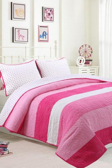 Soft and comfortable quilted washable Bedding, printed quilted cotton Three-Piece Suit (1 Quilt and 2 Pillow Shams)