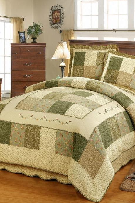 Washed quilted cotton printed three-piece bedding, air-conditioning quilt, garden wind bed cover