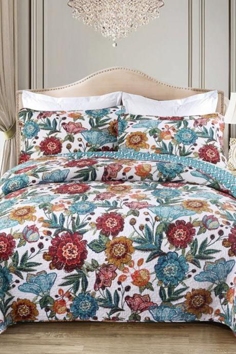 Bedding quilted bed cover Three-piece printed cotton
