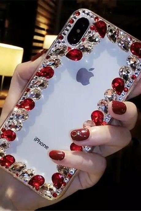 R15/X21 mobile phone case XSmax luxury rhinestones for iphone11Pro all-inclusive soft edge transparent note10