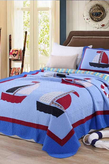 Cotton Bedspread Quilt Sets,3 Piece Quilt Set.Ultra Soft Bed Quilts Quilted Coverlet Great for Bedroom