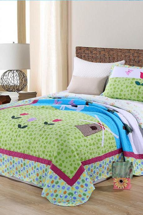 Quilted three-piece quilt quilt patchwork, quilted cartoon single bed set