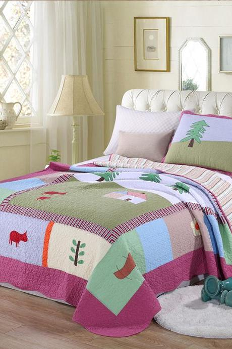 Three-piece printed quilt, thin bedding set, summer cool quilt