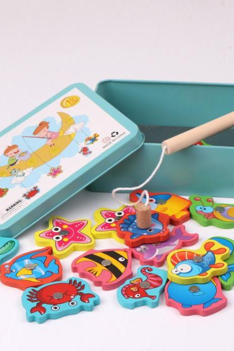 Wooden Magnetic Fishing Games with 15pcs Ocean Sea Animals Magnets for Toddlers, Travel Size Box Early Learning Educational Game Motor Skills Development Toys for 3 4 5 Year Old Birthday Gifts