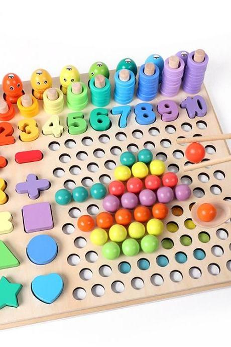 Wooden Toys for Toddlers,Magnetic Wooden Fishing Game Wooden Peg Board Beads Game, Matching Game Memory Toy, Preschool Learning Toys for 2 3 4 5Year Old Boys and Girls