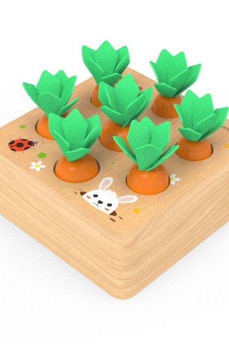 Wooden Toys for 1 Year Old Boys and Girls Montessori Shape Size Sorting Puzzle Carrots Harvest Developmental Gifts for Fine Motor Skill (Carrots Harvest)