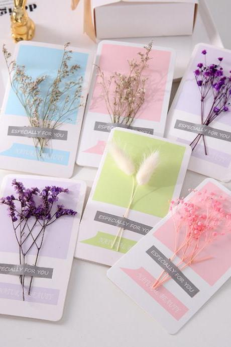 Dried Flowers Greeting Cards, 120PCS Handmade Greeting Cards Birthday Party Invitation Card, Valentines Day, Mothers Day