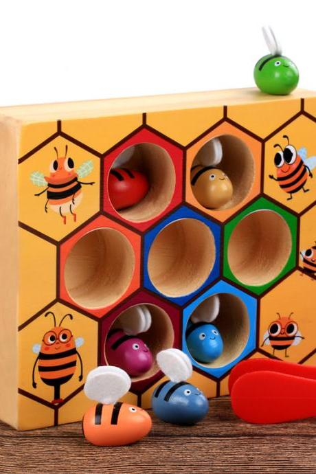 Toddler Fine Motor Skill Toy, Clamp Bee to Hive Matching Game, Early Learning Preschool Educational Gift Toy for 2 3 4 Years Old Kids