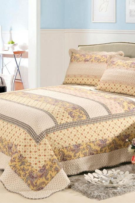 Air conditioner bedding three-piece cotton set Washed quilted comfortable cotton print