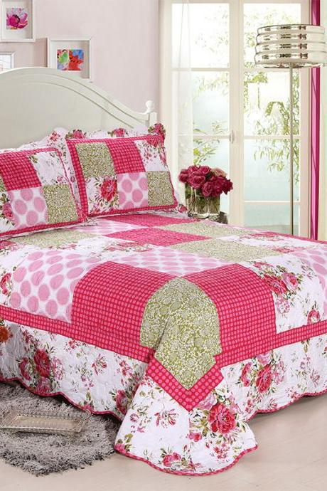 Quilt Bedding Set – 3 Piece Bedding Quilt Coverlets – 100% Cotton Yarn and Cotton Percale Bed Quilts Quilted Coverlet