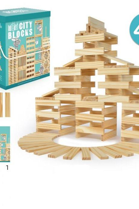 Wooden Building Blocks for Kids - Building Planks Set, Toy for Boys and Girls (300 Pieces)