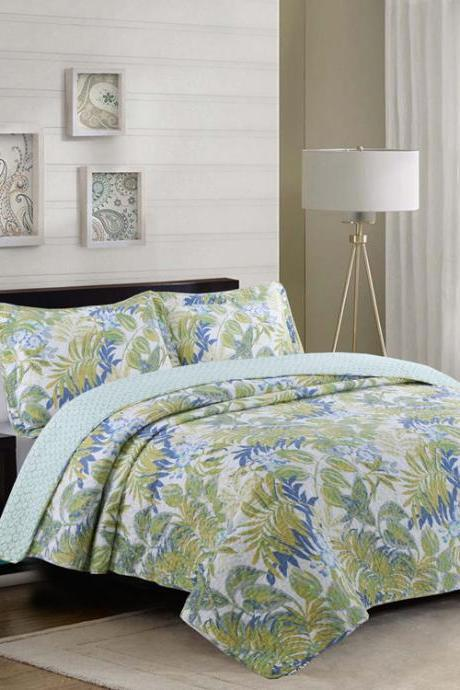 Quilted flower washing quilt Three-piece set of bedding products quilted cotton