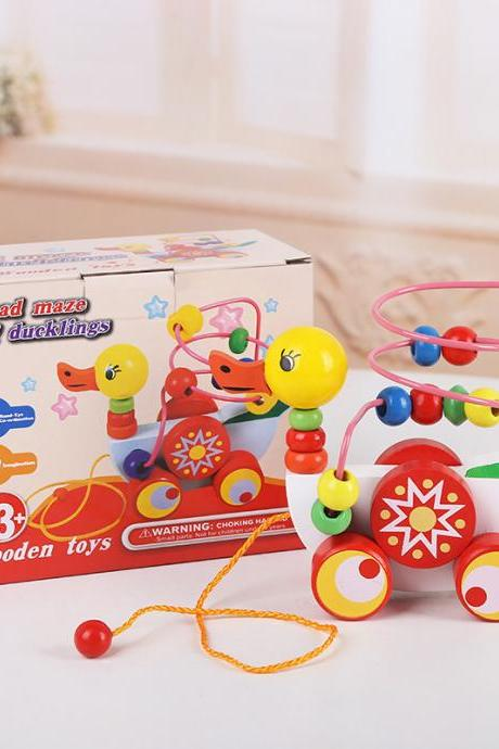 Wooden Bead Maze Toys Duckling Pull Toy Kids Learning Education Beaded Toy for Baby Toddlers Preschool Boys and Girls Age 1 2 3 4 5 Years (Duck)