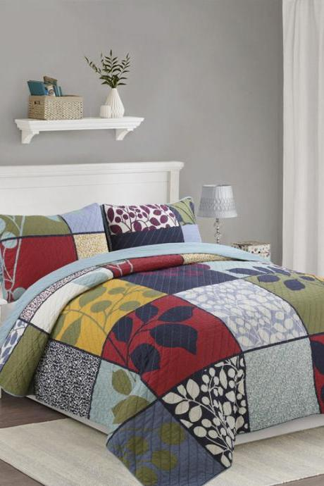 Three-piece cotton washable cover bedding quilted quilt