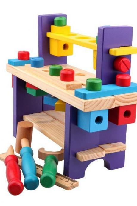 Wooden Play Tool Workbench Set for Kids Toddlers, Construction Tool Playset Toys Gift for Boys Girls