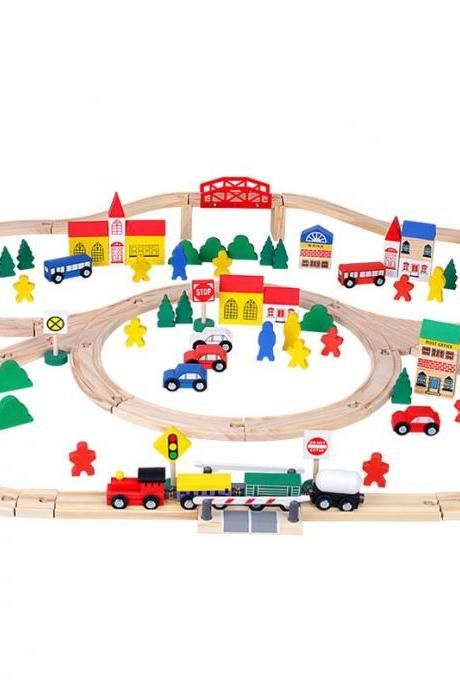 Wooden Toys Club Wood Train Set for Toddlers, Kids, Baby | 100pcs Toy Train Set with Wooden Tracks, Wood Cars