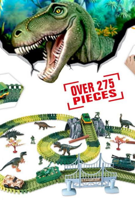 Kids Dinosaur Race Car Track–175 Piece Dinosaur Road Race Set– 175 Piece Dinosaur Road Race Set with Flexible Track, Prehistoric Race Track for Kids Age 3-8ith Flexible Track, Dino Toys, Bridge – Prehistoric Race Track for Kids Age 3-8