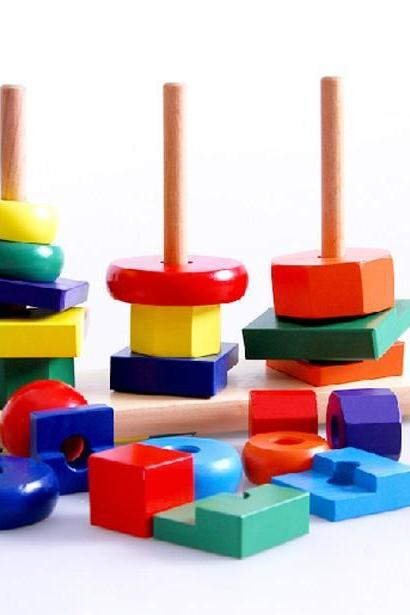 Wooden Children's Toys Geometric Stacker