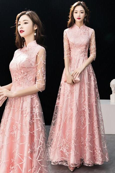 Women's Lace Applique Long Formal Evening Prom long Sleeve Dresses
