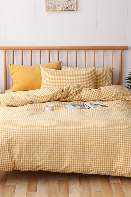 Japanese-style washed cotton four-piece bedding set, pure cotton bedding