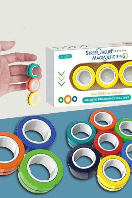 Magnetic Rings Toys, Magnetic Bracelet Ring Unzip Toy Magical Ring Props Tools, Colorful Unzip Finger Game Finger Toy ,BUY ONE GET OEN