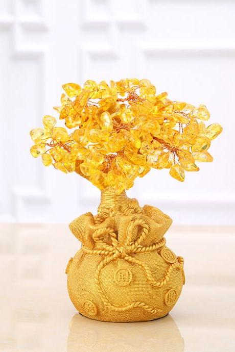 Citrine Fortune Tree Decoration Wine Cabinet Decoration Living Room Home Furnishing Entrance Feng Shui Crafts Lucky Tree Money Tree