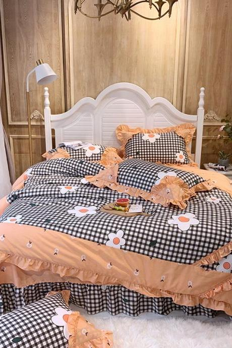 Cotton Bedding Set King 4-Pieces Hydrangea Print Duvet Cover Set with Bedskirt French Country Style with Ruffle :1 Duvet Cover,1 Bedskirt,2 Pillowshams