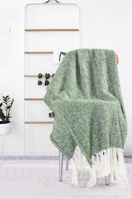 Bedding and leisure blanket, knitted cotton blanket, green pure wool blanket, model room decoration, towel sofa, blanket