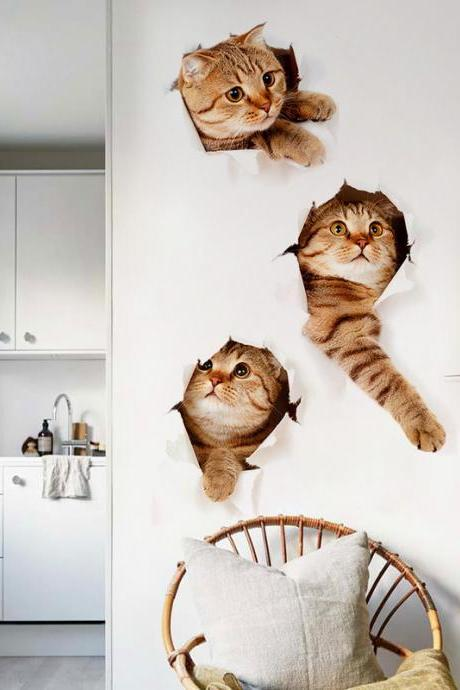 3D Wall Stickers Cats Self Adhesive, Kids Wall Decals/Removable Vinyl Art Murals for Living Room Baby Rooms Bedroom Toilet House Wall DIY Decoration