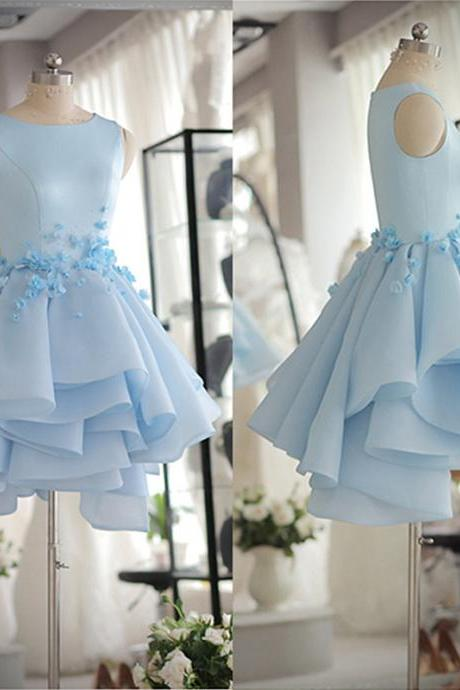 Prom Dresses 2020 Tank Sleeveless Light Blue Satin Organza Short Party Dress With Beads And Handmade Flowers Dress Prom Dress Homecoming Gowns Girls Graduation Dress