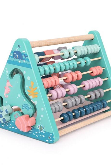 Wooden Activity Center Triangle Toy Children's Cognitive Flip Toy 5 in 1 Baby Learning Cube Wooden Toy Alphabet Building Blocks Abacus Clock