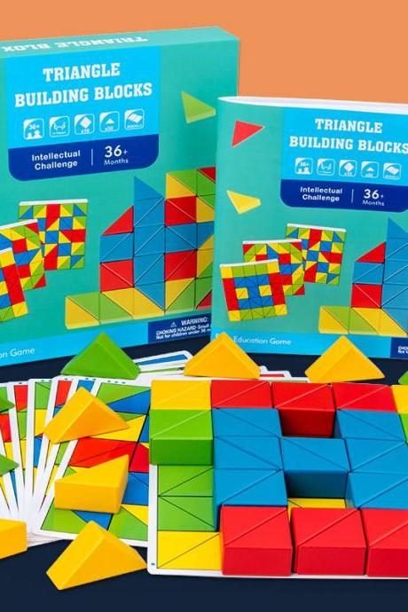 Wooden Pattern Blocks Geometric Shapes Puzzles Brain Teaser Toys for Kids Ages 3-8, Best Stem Educational Montessori Tangram Toys with 10 Guide Cards