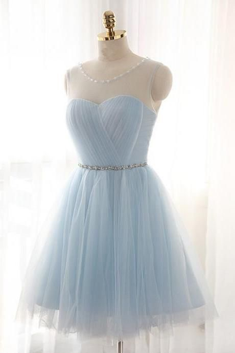 Scoop Neck Tulle Light Blue Homecoming Dresses with Crystals Belt,Homecoming Dresses