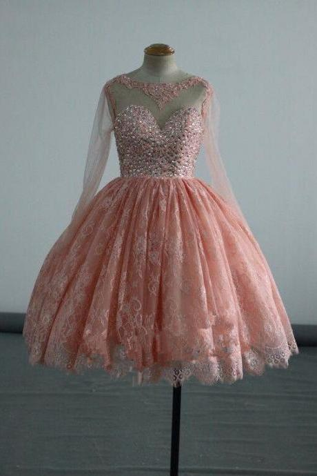 Lace Short Puffy Prom Dresses, Party Dresses, with Crystals Long Sleeve Prom Dress