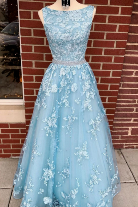 Women's sky blue ball gown, long ball gown, ball gown