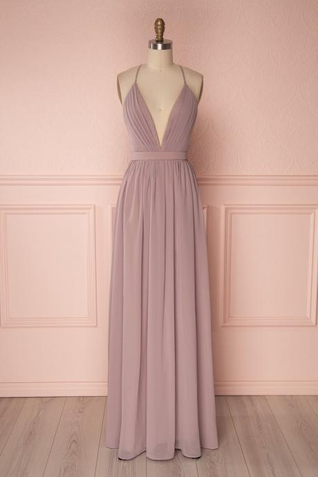 Flowing Lalic Chiffon Pleats Back Plunging Neckline Prom Dress