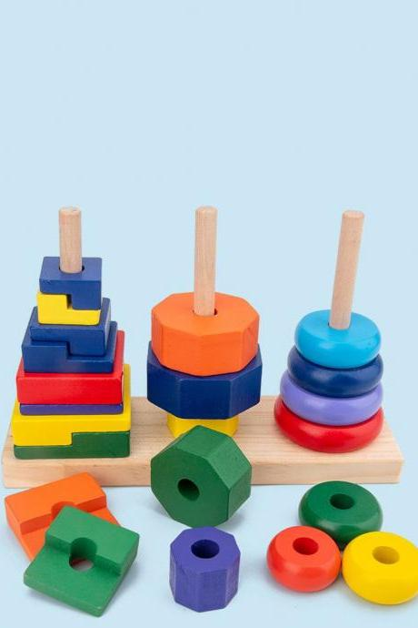 Wooden geometric toys with colored columns Geometric Stacker Baby Toys & Gifts for Babies