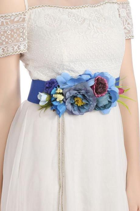 Bridal dress elastic imitation flower belt bridal clothing accessories