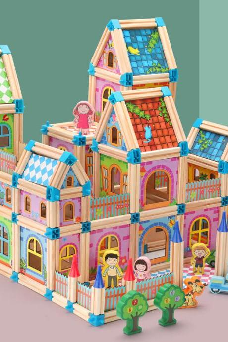 Wooden Building Blocks Set for Kids Toys, Construction Toy and Minifigures, Castle and Farm Building Set, Great Gift for Players Aged 3 and up, (268 Pieces)