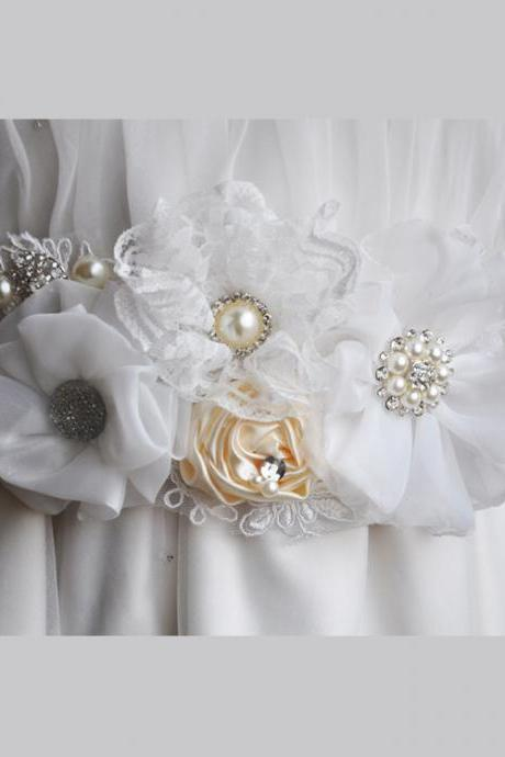 Women's Bridal Wedding Dress Sash Maternity Sash Belt Flower Baby Girl Sash Belt