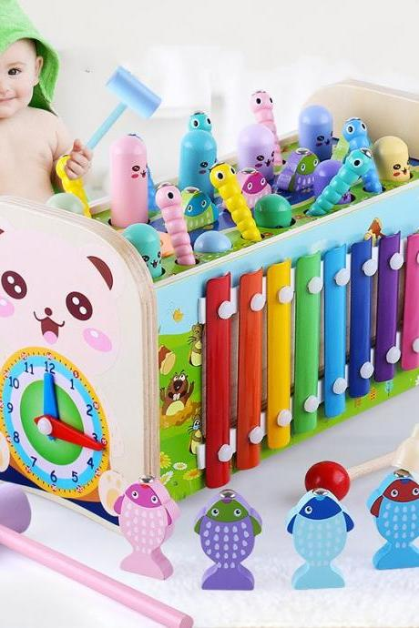 Hammering Pounding Toy Hamster Toy Xylophone Fishing Magnet Game, Montessori Early Educational Fine Motor Skill Toy , Best Birthday Gift for 3 4 5+ Years Boys Girls (2 Hammers Included)