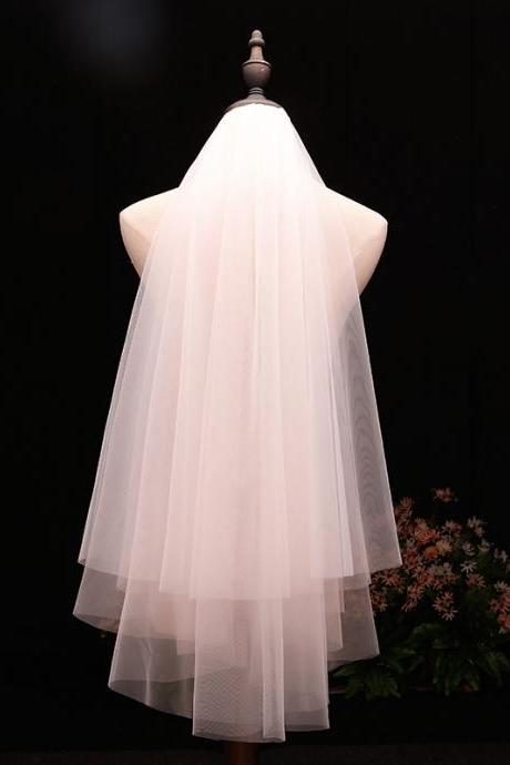 Women's Short 2 Tier Tulle Sheer Wedding Bridal Veil with Comb