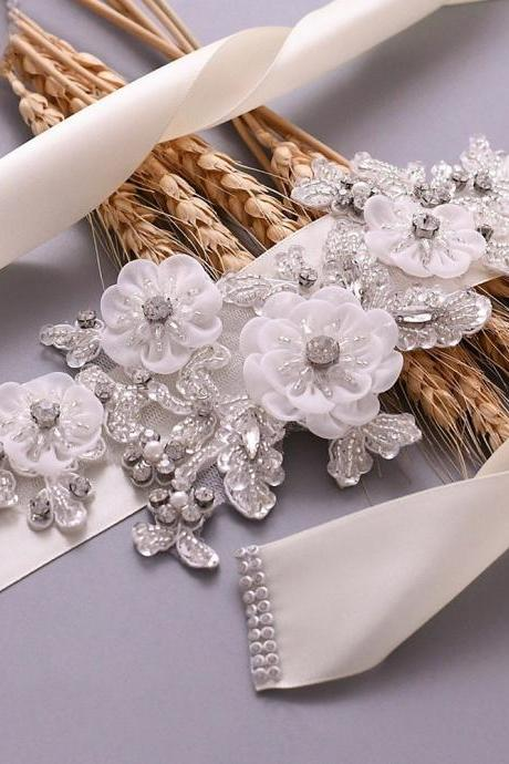 Women's Flowers Bridal Sash Bridal Belt Pearls Wedding Belts Wedding Sashes