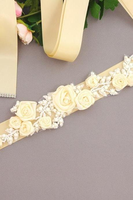 Handmade Flower Sash Belt for Maternity Pregnancy Baby Shower Wedding Party