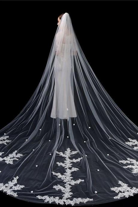 Single Layer Wedding Veil Bridal Veil Lace Embroidery Lace Edge Bride Supplies 3.5m with Comb