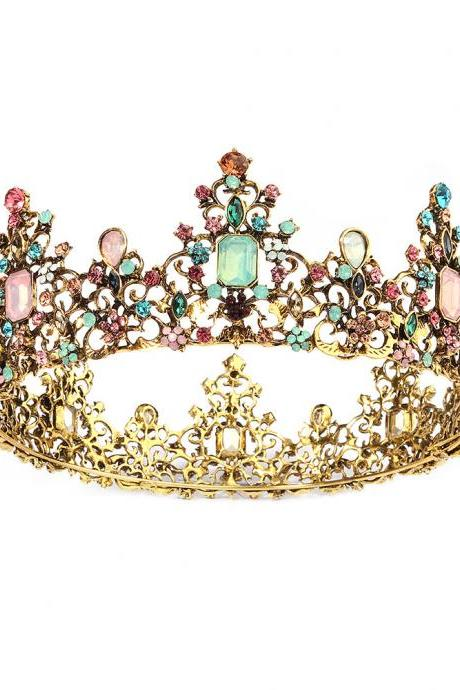 Rhinestone Wedding Crowns and Tiaras for Women, Costume Party Hair Accessories with Gemstones