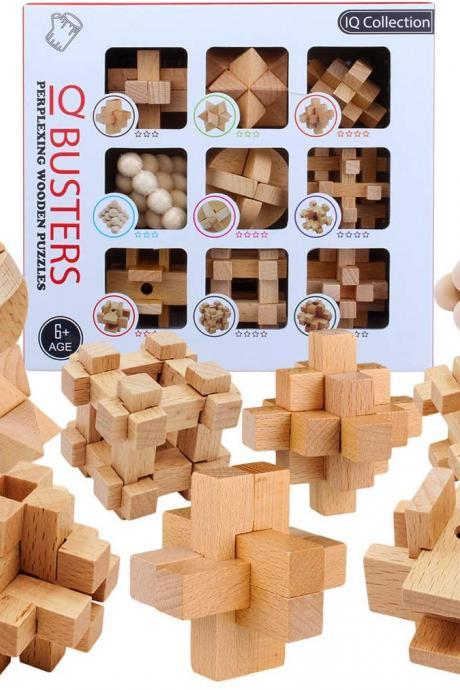 HMANE 9Pcs Wooden Brain Teaser Puzzle, IQ Test Toy, Kong Ming Lock Puzzle Disentanglement Puzzles Toy Unlock Interlock Game