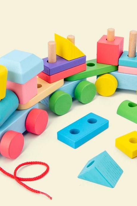 Wooden Train Toddler Toys, Shape Sorter and Stacking Wooden Blocks, Wooden Toys, Puzzle Toys Preschool Educational Toys